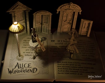 ON SALE - Alice in Wonderland - Book Sculpture - Book Art - Altered Book
