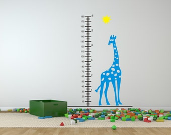 Giraffe Growth Chart Kids Wall Decal Quote Sticker Home Decor Office Wall Decal