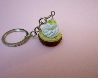 Chocolate cupcake keychain, polymer clay food keychain