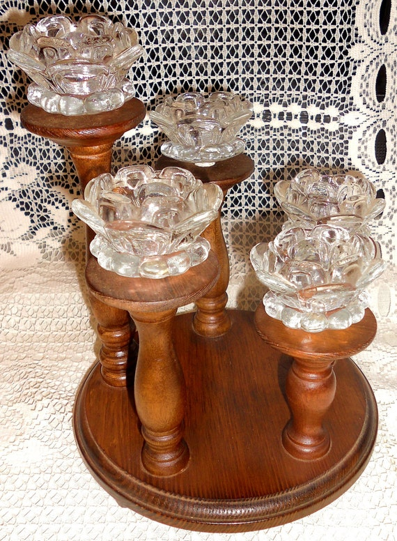 Items similar to vintage wood glass tier candle holder