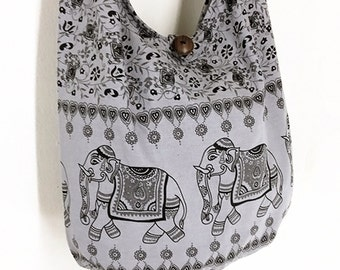 Women bag Handbags Cotton bag Elephant bag Hippie Hobo bag Boho bag Shoulder bag Sling bag Messenger bag Tote bag Crossbody Purse Gray
