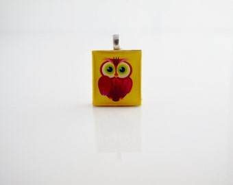 Fushia Owl on a bright yellow background, Owl Necklace, Scrabble Owl Pendant, Cute Owl, Scrabble Tile on Sterling Silver 925 bail and chain