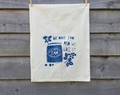 Organic cotton tea-towel 'Blackberry Jam' illustration print or wall hanging.