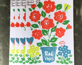 Thank You greeting cards, pack of 4.  Folk roses illustration with butterflies.