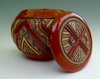 Hand Carved Lidded Aztec Bowl - Pottery - Deep Sienna Brown, Tan - Leaves & Triangles - Rustic, Highly Textured -  Unique, Original