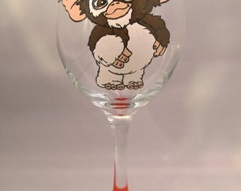 Hand Painted Gizmo Gremlins Wine Glass