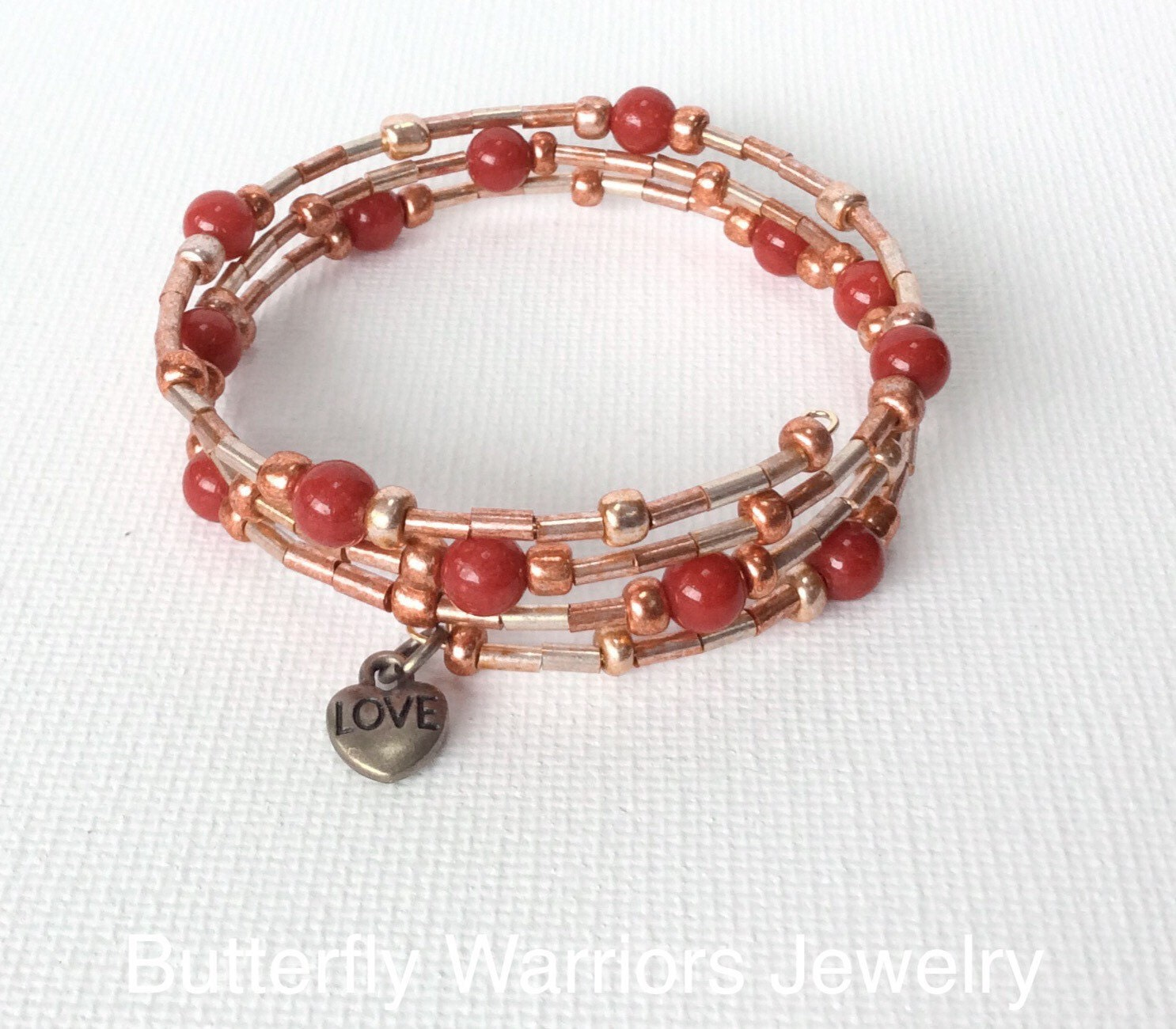 gold seed bead memory wire bracelet by