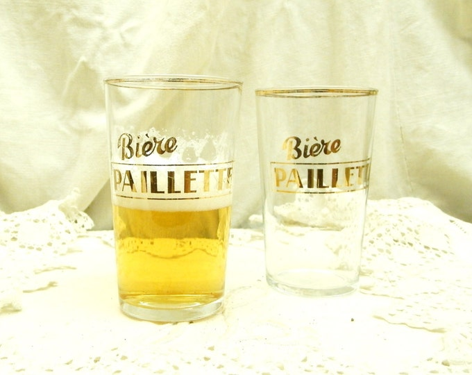 "2 Vintage French Beer Glasses ""Biere Paillette"" Gold Lettering and Rim / French Country Decor"