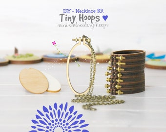 DIY Necklace Kit - Mini Embroidery Oval Hoop Frame with Necklace - 34mm x 62mm Oval Hoop - Miniature Oval Embroidery Hoops - DIY Necklace