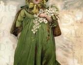Lovely Little Girl In Winter Clutching Flowers Vintage Illustration Vintage Child Digital Download. Vintage Digital Victorian Child Download