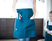Apron for daughter and mom - mom cafe apron - aprons for women - kitchen apron - gardening apron - girl apron - blue apron