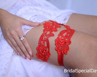 Red Bridal Garter, Lace Wedding Garter, Bridal Garter Set, Lace Garter Set, Handmade Garter,   Red Garter, Lace Garter, Garter Set, Garter