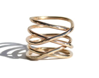 14K Solid Gold Twisted Ring, Gold Hammered Stacking Ring -Custom Made
