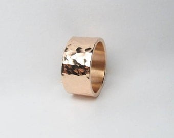 9mm Wide Hammered Copper Ring Made to Order
