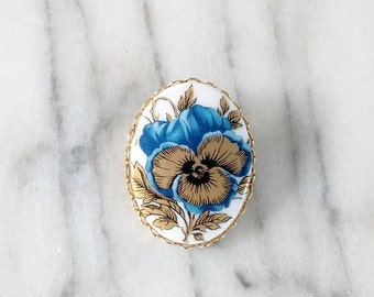 Vintage Blue Pansy Brooch with Gold Accents