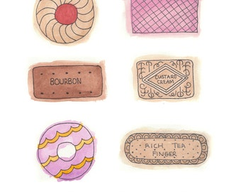 British Biscuits - Quirky Watercolor Art Print