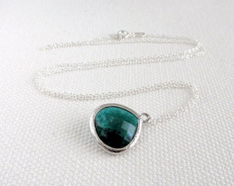 Emerald Green Necklace, Sterling Silver Minimalist Jewelry, Tiny Petite Necklace Dark Green