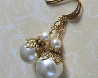 Vintage Inspired Pearl Earrings, Antique Style Gold Pearl Drop Earrings, Bridal, Bridesmaid Earrings, Gold, Ivory or White Pearl Earrings