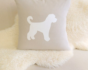 Goldendoodle Silhouette Pillow Cover - Flax Beige Linen & White