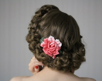 """Pink Hair Flower, Coral Clip Floral Hair Accessory, 1950s Fascinator, Camellia Rose Headpiece - """"Someday in Spring"""""""