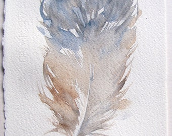 Feather painting original. Watercolor painting. Pastel blue beige feather painted by hand. Art original. Small watercolors 7 by 11