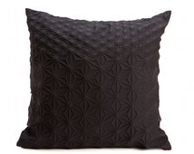 Black geometric pillow cover 60x60 cm, 23.6 inch, Special textured cushion, Home decor accessory, patterned cushion cover