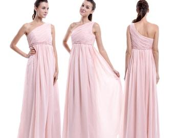 Maternity Bridesmaid Dress, One Shoulder Long Empire Waist  For Pregnant Women