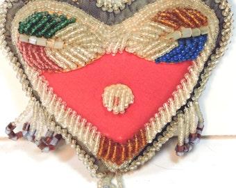 Pin Cushion Antique Native American Beaded Heart Souvenir Americana Country Decor