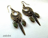 Earrings, Brass Boho, Moss Green Leafs, Brass Embossed Dagger, Antique Brass Earrings, Boho Earrings, Hippie Earrings, Dangle Earrings