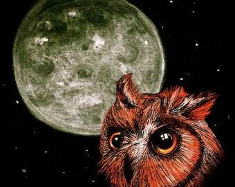 Night Owl Ink and Pastel Illustration Prints