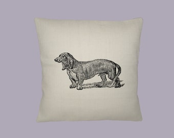 Wonderful Vintage Dachshund Illustration HANDMADE 16x16 pillow cover  -  Choice of fabric - image in ANY COLOR,