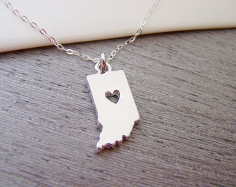 Indiana State Heart Cut Out Charm Sterling Silver Necklace / Gift for Her - Indiana Necklace - State Necklace - Geography Necklace