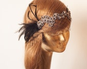 BIRDCAGE VEIL. Black Veil .Vintage Wedding Headpiece with beautiful,delicate Guipure LACE .Bridal Fascinator