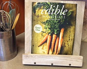 Weathered White Wood Cookbook Stand, Cookbook Holder, iPad Stand, Gift Idea For Foodie, Gift Idea For Her, Collapsable, Farmhouse Style