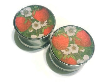 Little Strawberries Double Flare or Single Flare Plugs sizes 2g - 2 Inches