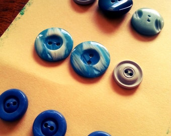 SALE 9 x Mixed Vintage Blue Teal Turquoise Buttons