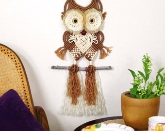 Elliot - Macrame Owl Wall Hanging, Fluffy Eyes, Nursery Décor, Brown, Tan, Cream, Macrame Animals