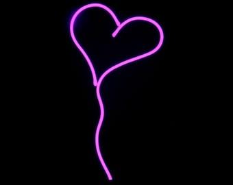 Hot Pink Heart Neon Art Valentine Sculpture
