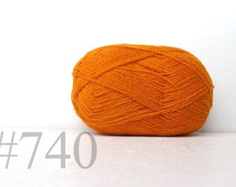 WOOL yarn 100%-knitting yarn - honey-orange  #740