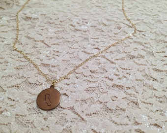 California Charm Necklace on Sterling Silver or 14k Gold Filled Chain, Hand Stamped California Charm Necklace, California State Jewelry
