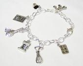 Baking themed charm bracelet - metal charm bracelet - baking themed jewelry - baking charms - baking gift - kitchen themed gift