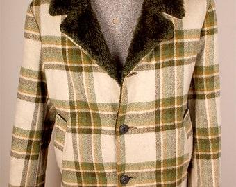 Fantastic 1960s Era Green White Plaid Piling Lined Wool Mens Overcoat Matt Andrews Brand