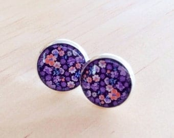 Mauve and Coral Floral Resin Silver Post Earrings