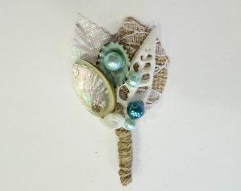 Neptune's Flower-Beach Wedding Boutonniere- Nautical Boutonniere-Mens Wedding Boutonniere-Beach Wedding-Grooms Accessories- Mermaid Wedding