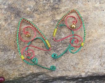 Elf Ear Cuffs - Christmas Bells - Elven Jewelry - Christmas Jewelry - Christmas Earrings - Christmas Elf Ears