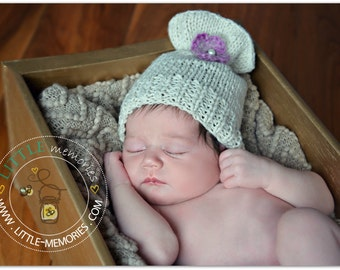 Super Cute Newborn Hand Knitted Hat , Baby Photo Prop , hat with flower