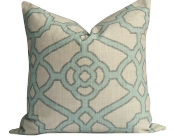 Pastel Blue and Grey Trellis Pillow Cover in - Same Fabric BOTH Sides - INVISIBLE Zipper  - 18x18, 20x20, 22x22 and lumbar sizes