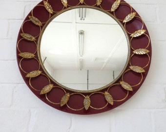 Vintage Round Brass Wall Mirror or Porthole Mirror