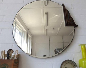 Vintage Large Round Art Deco Bevelled Edge Wall Mirror With