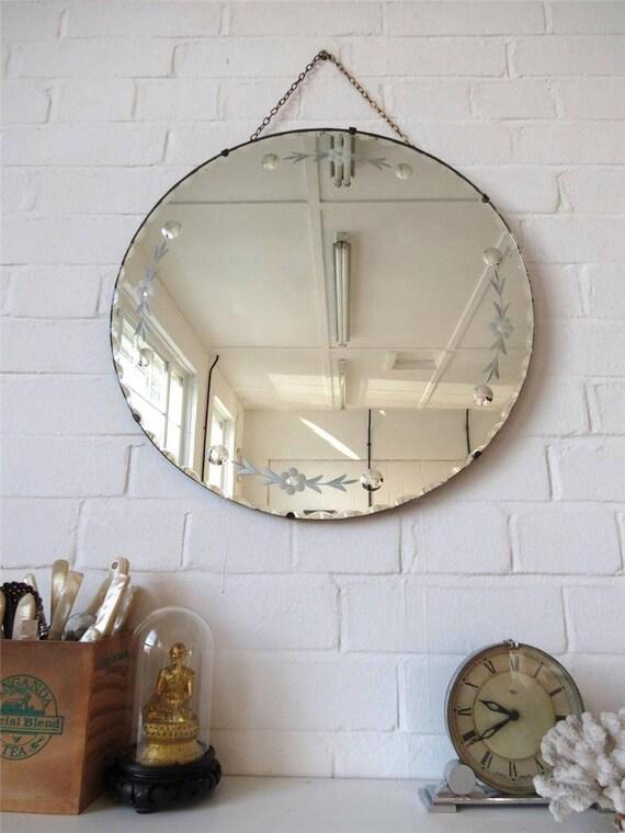 Vintage grand rond bord biseaut miroir art d co au mur avec for Miroir rond deco